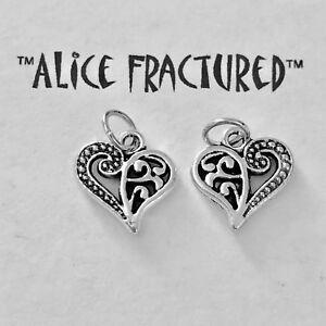 Filigree Heart Silver Charm Dangle Bead USA Seller 1251