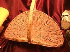 """Vtg Large Wicker Handled Basket-Harvest/Firewood Swoop Basket-21""""x18""""-free ship"""