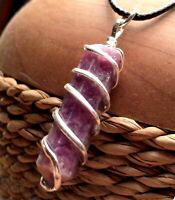 LEPIDOLITE Chakra Crystal Point Silver Wire Wrap Pendant Necklace HANDMADE Heal