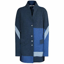 MARITHE FRANCOIS GIRBAUD wool button front abstract colorblock coat 42-IT/6-US