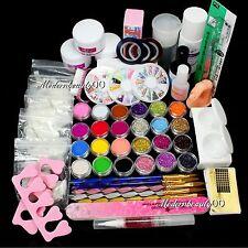 Nail Art Acrylic Primer Liquid 500pcs Tips Tool Full Kit UV Top Coat Set Glue