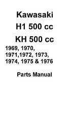 Kawasaki parts manual book 1972, 1973 & 1974 Kawasaki H1 500 cc & KH 500 cc