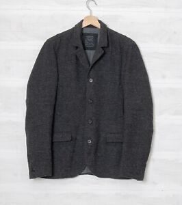 "All Saints Men's 38"" Denial Charcoal Grey Pure Wool Warm Jacket"