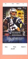 Tampa Bay Buccaneers New England Patriots 9-22-2013 ticket stub Tom Brady photo