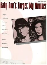 """MILLI VANILLI """"BABY DON'T FORGET MY NUMBER"""" SHEET MUSIC-PIANO/VOCAL/GUITAR-NEW!!"""