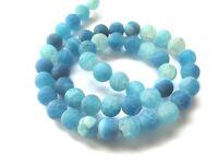 1 Strang #1119 Achat matt blau mit Kristalldrusen 8-16 mm Perlen Edelsteine