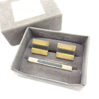 online store 3ea1d 7aa51 Dior Neck Tie Pin Clip Clasp Gold Black Mens Authentic Used L719