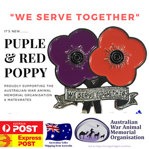 Dual Red and Purple Poppy Pin - AWAMO