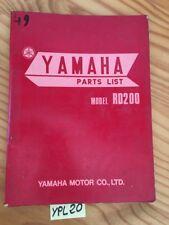 Yamaha RD200 Rd 200 Catalogo Monete Ricambio Parts Lista Motocicletta 1973