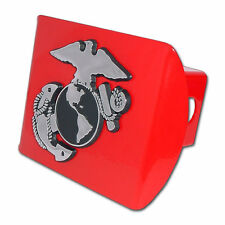 usmc marine corps insignia chrome on red military trailer hitch cover usa made