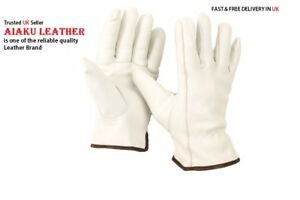 AIAKU  LINED INNER FLEECE 100% LEATHER LORRY DRIVERS WORK SAFETY WINTER  GLOVES