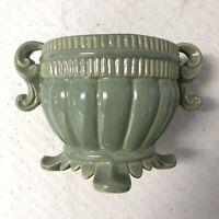 VTG Glazed Green Ceramic Urn Planter 2 Handles 4 Feet 5in