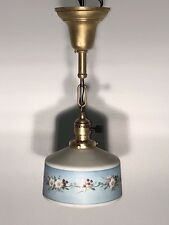 Antique Raw Brass Entry Light Hall Way Fixture Hand Painted Globe Shade 64A