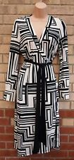 G21 BLACK WHITE BELTED WRAP ABSTRACT PRINT SKATER FLIPPY A LINE TEA DRESS 10 S