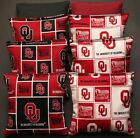 CORNHOLE BEAN BAGS made w University of OKLAHOMA SOONERS fabric 8 OU Toss Bags