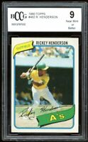 1980 Topps #482 Rickey Henderson Rookie Card BGS BCCG 9 Mint+