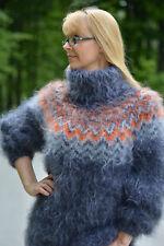 DUKYANA Handknit Mohair sweater Icelandic jumper Fuzzy pullover Tneck Soft Gray