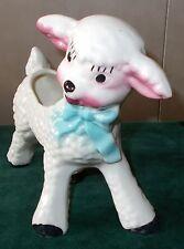 Vintage Ceramic White Lamb Planter with Blue Bow