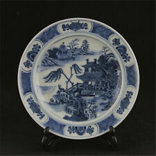 Chinese ancient antique hand make Blue and White Landscape Porcelain Plate