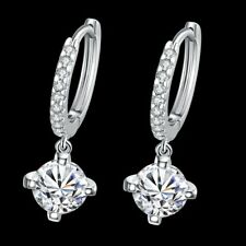 925 Sterling Silver 2.00 ct. Round 6mm CZ Leverback Earrings