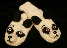 PANDA MITTENS knit ADULT puppet FLEECE LINED animal costume HAT SOLD SEPARATE