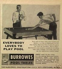 1955 Burrowes Easy-Folding Billiard/Pool Tables Indoor Games Sporting Goods AD