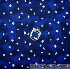 BonEful Fabric FQ Cotton Quilt Navy Blue White Night Sky Small STAR Harry Potter