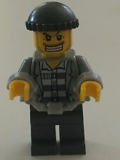 *NEW* Lego Minifig ROBBER PRISONER Handcuffs GRAY JACKET Dark Gray Stripes