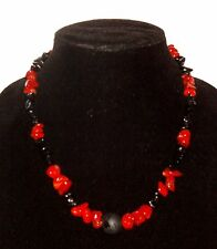 Men's Black Onyx,Glass and Red dyed Bamboo coral Necklace