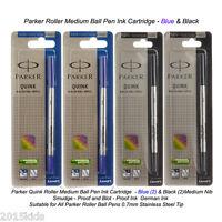 M BLUE 2 X Parker Quink Roller Ball Refill Refills * Medium Point
