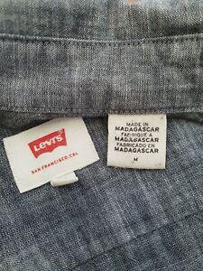 Levis Mens Denim Style Blue Long Sleeve Button Up Shirt 100% Cotton Size Large