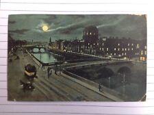 Ireland, Liffey & Four Courts DUBLIN, night scene Original Colour Postcard