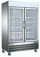 VORTEX Commercial 2 Glass Door Merchandiser Refrigerator in Stainless Steel 45cf