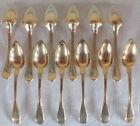 12 petites cuillères argent massif vermeil poinçon vieillard little spoons
