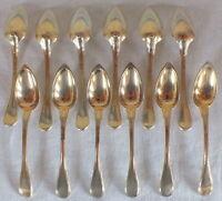 12 cuillères argent massif vermeil poinçon vieillard little spoons