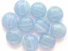 10 Cuentas checas de vidrio azul de lentejas 13mm