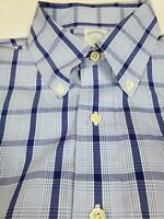 Brooks Brothers Blue Plaid Button-Down Shirt L Large Slim Fit Long Sleeve