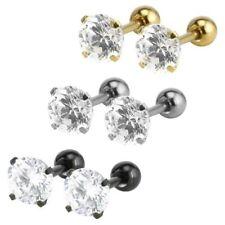 Pair Women's Men's Stainless Steel Cubic Zirconia Stud Earrings Cartilage Helix