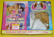 Barbie: The Princess & The Popstar Gift Set (DVD + Plush Dog) NEW