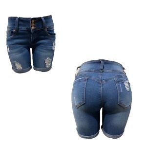 New Tush Push colombian blue rip stretch levanta cola push up short shorts