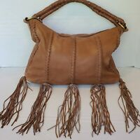 Scully Leather Fringe Brown Bag Whipstitch & Braided Rope Handles Western