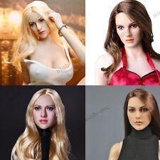 "1/6 Scale Female Long Blond Black Hair Head Sculpt for 12"" TBLeague Phicen Model"