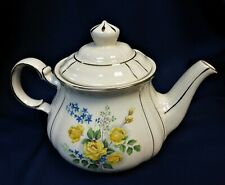 Sadler large teapot with yellow roses and blue flowers on white with silver