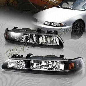 For 90-93 Acura Integra JDM Black Housing 1-Piece Headlights W/Amber Reflector