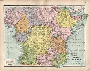 1903 MAP ~ CENTRAL AFRICA ~ EUROPEAN POSSESSIONS CONGO ANGOLA RHODESIA