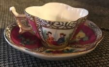 Hokutosha Occupied Japan Miniature Tea Cup & Saucer Gold Floral Hand Painted