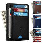 Mens RFID Blocking Leather Minimalist Small Wallet Credit Card Slots Holder