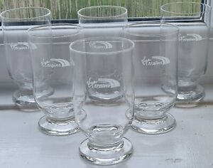 Official Virgin Trains 6 Long Drink Glasses,Juice, Water Glass Brand New Boxed