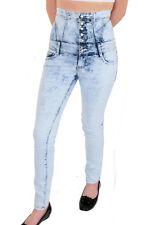 Ladies High Waist Lace Up Back Acid Wash Light Denim Blue Skinny Jeans