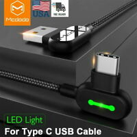 USB Type C Cable USB-A to USB-C Fast Charger 90 Degree Charging Cord for Samsung
